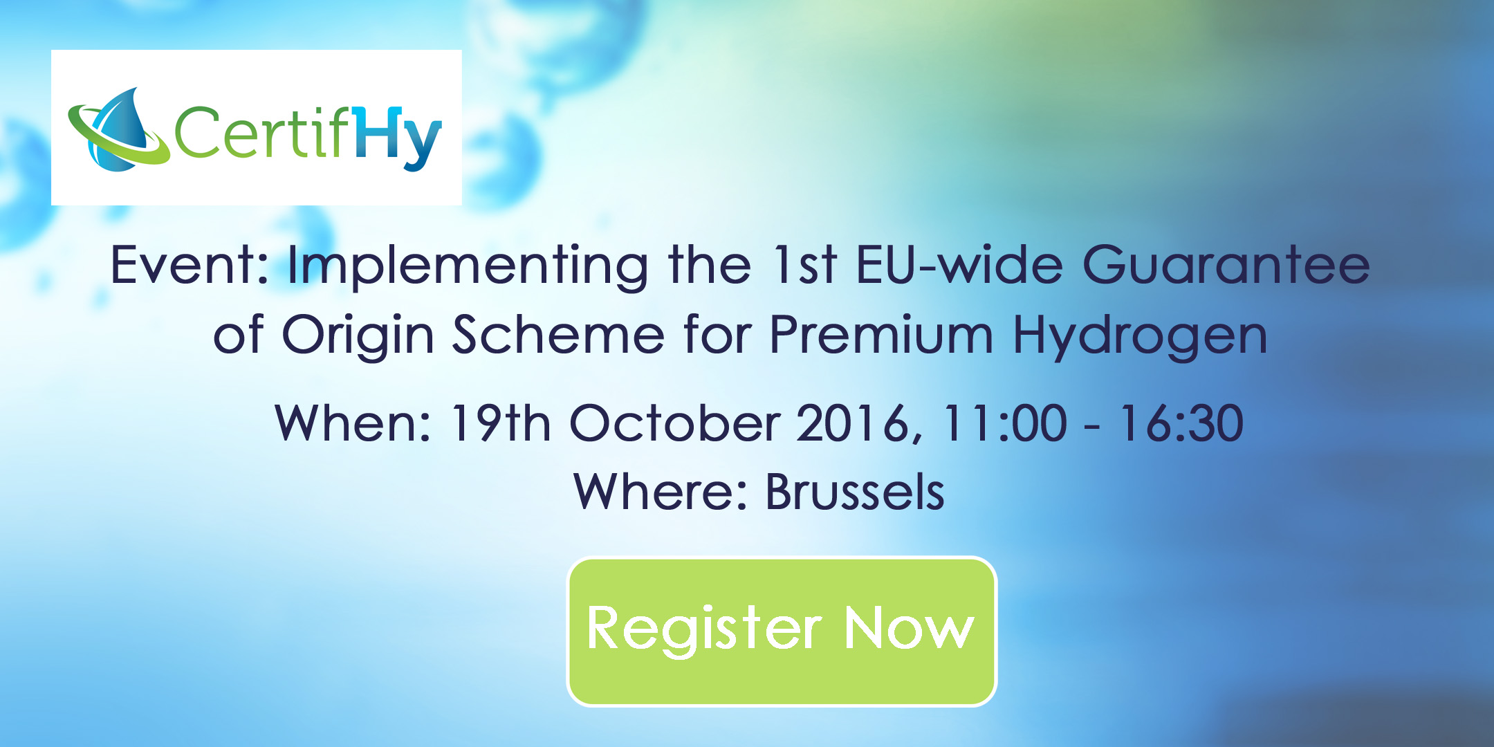 HINICIO Organizes Final CertifHy Event, 19th October, Brussels